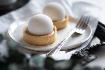 vegan mont blanc dessert with chestnut cream and rum on a plate